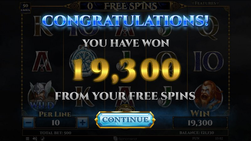 Vikings & God 2 :: Total free spins payout