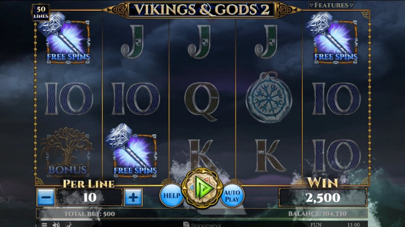 Vikings & God 2 :: Scatter symbols triggers the free spins feature