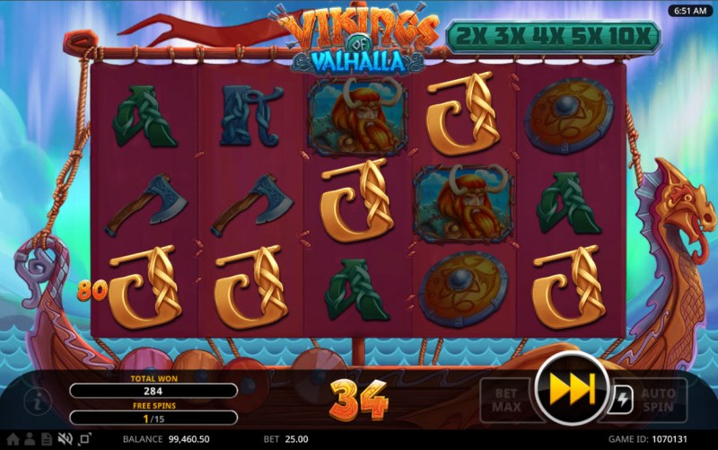 Vikings of Valhalla :: Free Spins Game Board