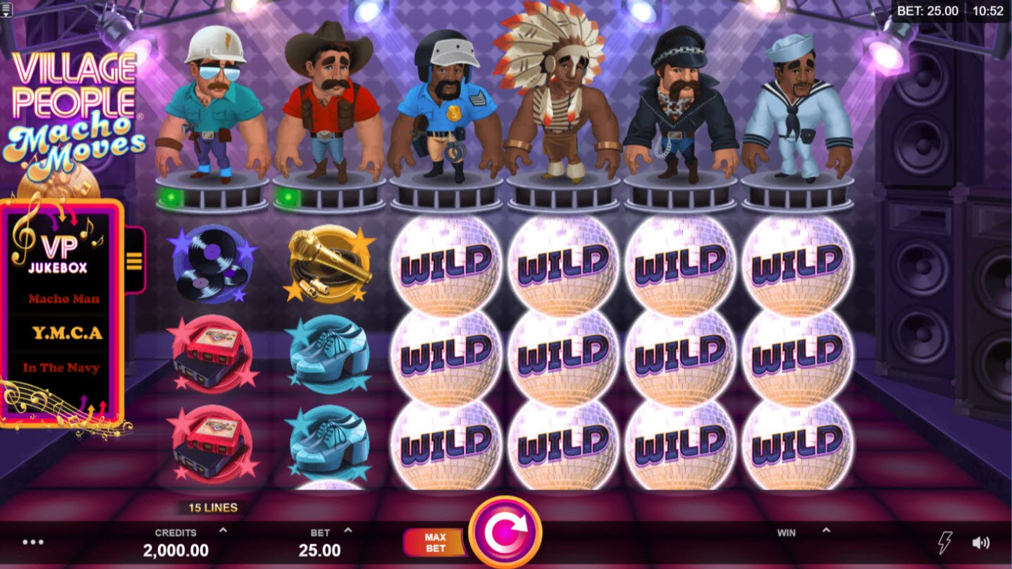 Play slots at Win Paradise: Win Paradise featuring the Video Slots Village People Macho Moves with a maximum payout of $146,125