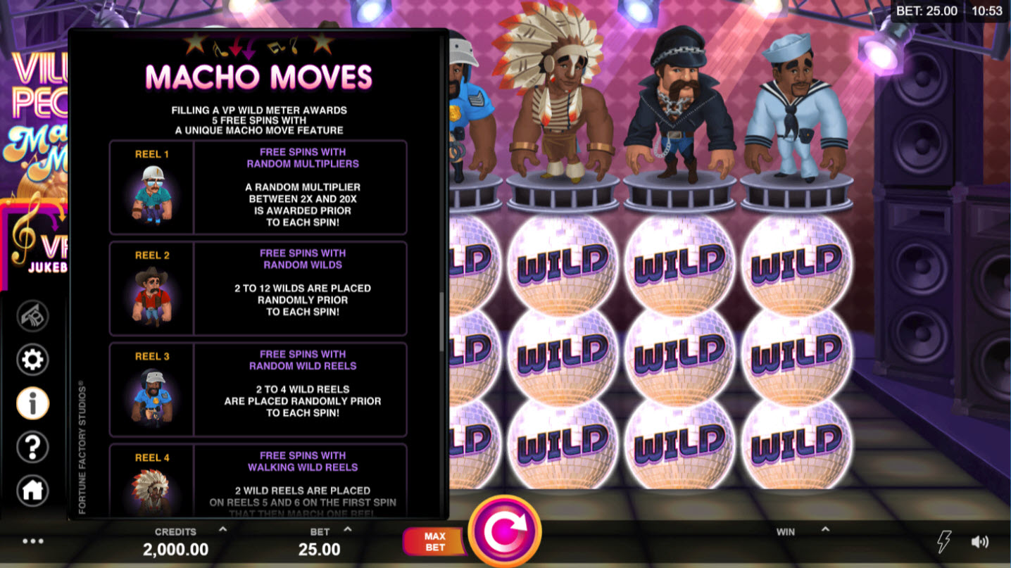 Play slots at First Web: First Web featuring the Video Slots Village People Macho Moves with a maximum payout of $146,125