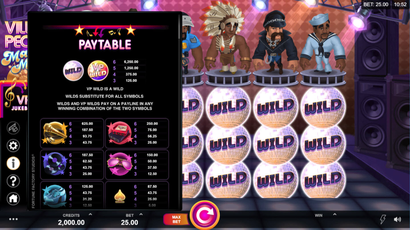 Play slots at Casino Action: Casino Action featuring the Video Slots Village People Macho Moves with a maximum payout of $146,125