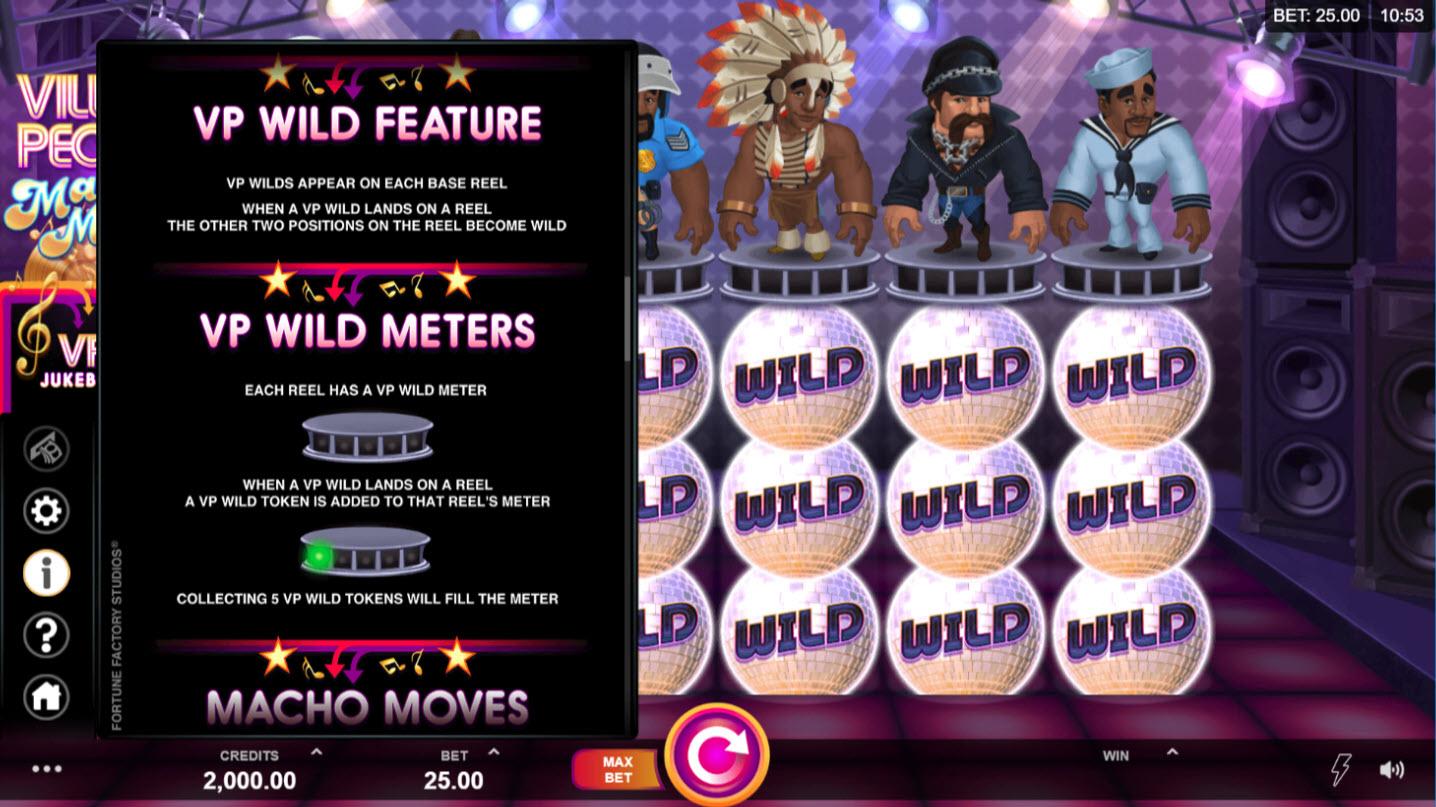 Play slots at Slots Magic: Slots Magic featuring the Video Slots Village People Macho Moves with a maximum payout of $146,125