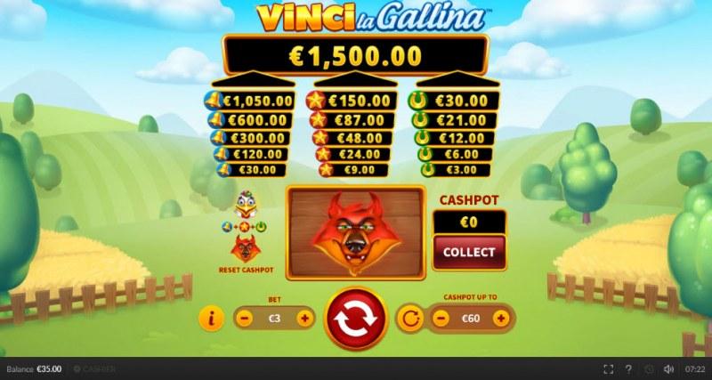 Vinci la Gallina :: Landing a fox symbol resets all 3 towers to zero