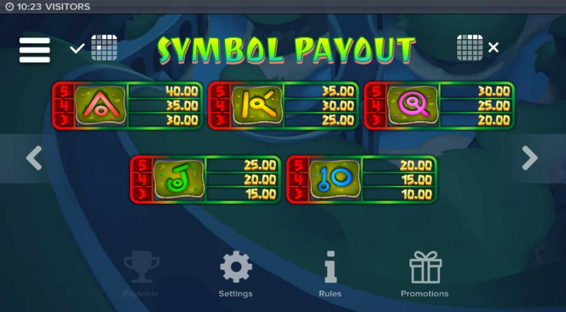 Visitors :: Paytable - Low Value Symbols