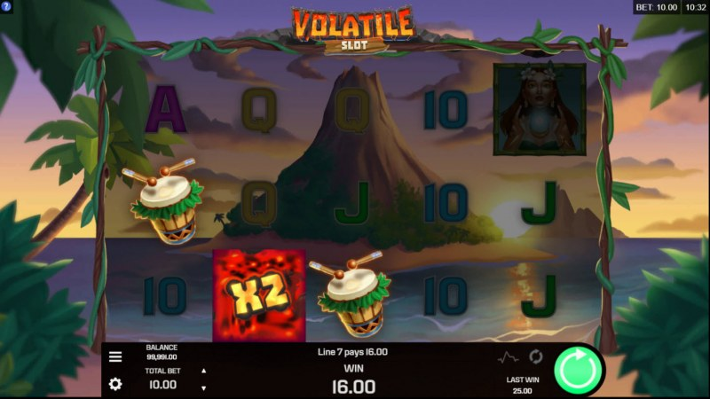 Volatile Slot :: Feature triggers an X2 win multiplier
