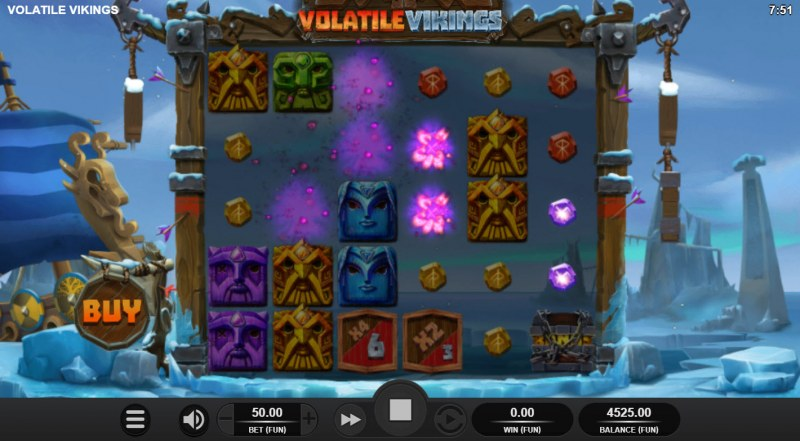 Volatile Vikings :: Winning symbols are removed from the reels and new symbols drop in place