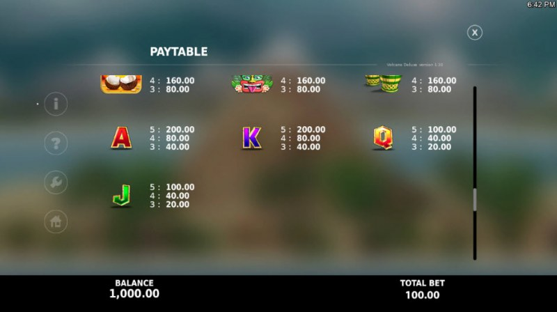 Volcano Deluxe :: Paytable - Low Value Symbols