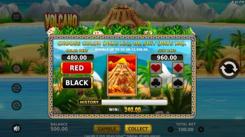 Volcano Deluxe :: Gamble Feature Game Board