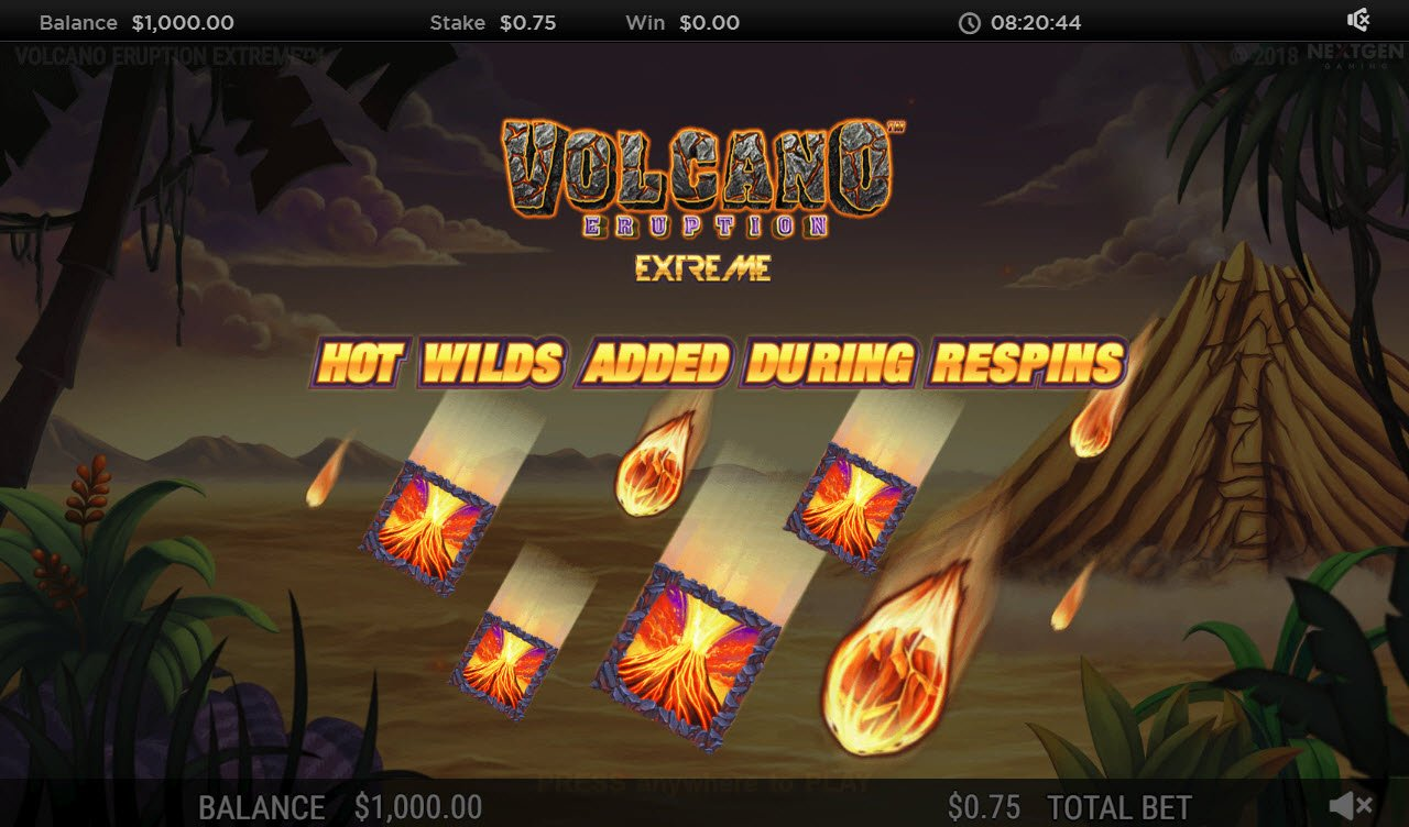 Play slots at Roxy Palace: Roxy Palace featuring the Video Slots Volcano Eruption Extreme with a maximum payout of $250,000