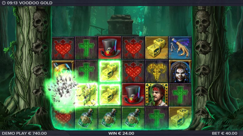 Voodoo Gold :: Winning symbols are removed from the reels and new symbols drop in place
