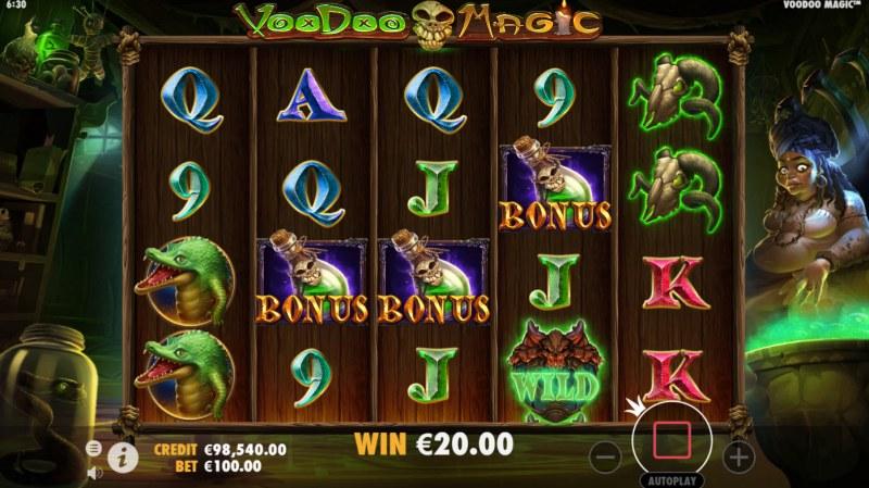 Voodoo Magic :: Scatter symbols triggers the free spins bonus feature