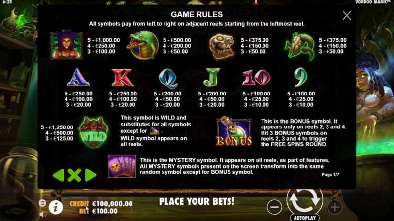 Voodoo Magic :: Paytable