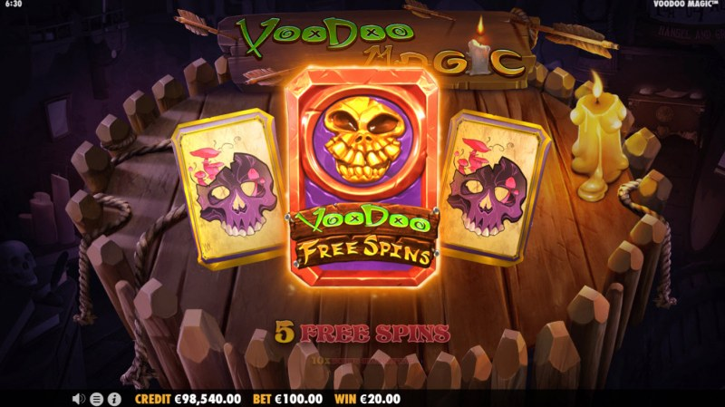 Voodoo Magic :: 5 free spins awarded