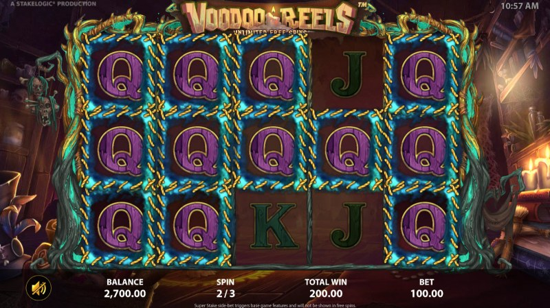 Voodoo Reels :: Reels continue to respin until no more matching symbols appear