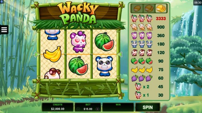 Casino Mate featuring the Video Slots Wacky Panda with a maximum payout of $16,665