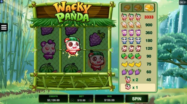Casino Classic featuring the Video Slots Wacky Panda with a maximum payout of $16,665