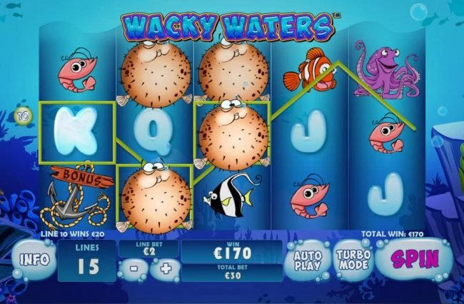Casino Las Vegas featuring the Video Slots Wacky Waters with a maximum payout of $225,000
