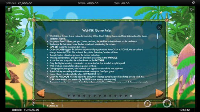 Wai Kiki :: General Game Rules