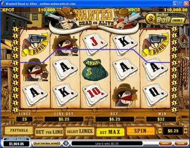 William Hill Casino Club featuring the video-Slots Wanted Dead or Alive with a maximum payout of $500,000