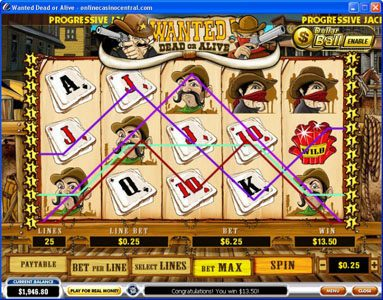 Titanbet.it featuring the video-Slots Wanted Dead or Alive with a maximum payout of $500,000