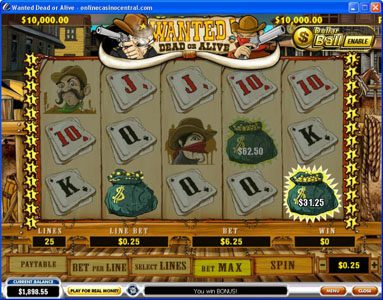 Royal Dice featuring the video-Slots Wanted Dead or Alive with a maximum payout of $500,000