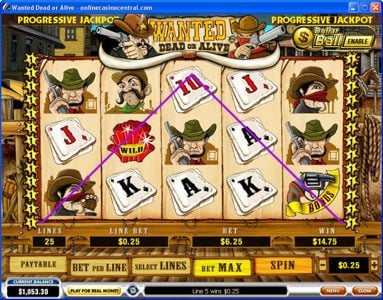 Slots Heaven featuring the video-Slots Wanted Dead or Alive with a maximum payout of $500,000