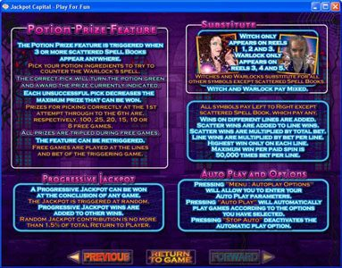 Jonny Jackpot featuring the Video Slots Warlock's Spell with a maximum payout of 10000x