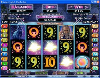 Yoyo featuring the Video Slots Warlock's Spell with a maximum payout of 10000x