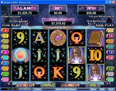 Fruity Vegas featuring the Video Slots Warlock's Spell with a maximum payout of 10000x