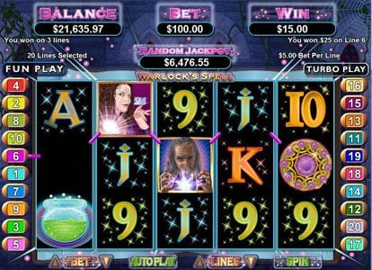 Mighty Slots featuring the Video Slots Warlock's Spell with a maximum payout of $250,000