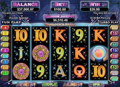 Planet 7 featuring the Video Slots Warlock's Spell with a maximum payout of $250,000