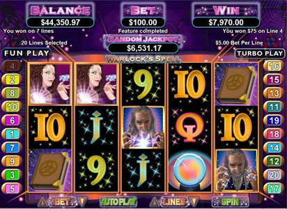 Play slots at Slots of Vegas: Slots of Vegas featuring the Video Slots Warlock's Spell with a maximum payout of $250,000