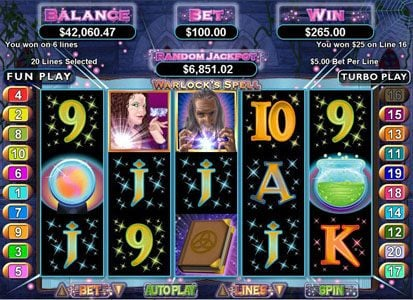 Casino Midas featuring the Video Slots Warlock's Spell with a maximum payout of $250,000