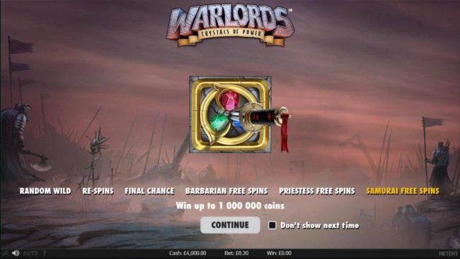 Magik Slots featuring the Video Slots Warlords Crystals of Power with a maximum payout of $1,000,000