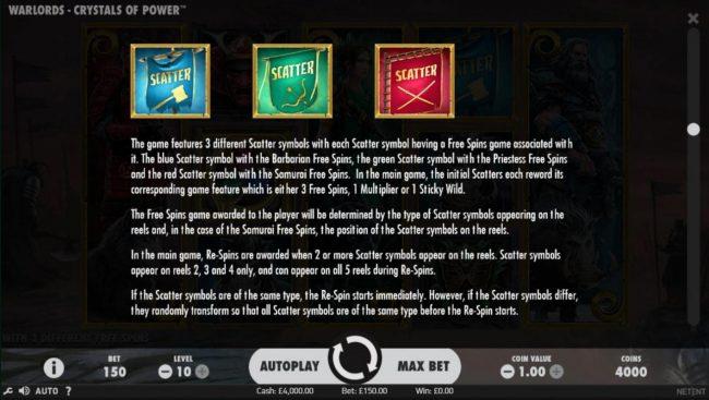 Scatter symbols  game rules