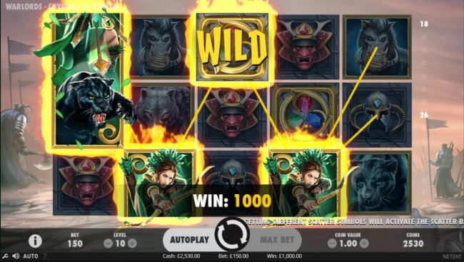 4 Stars featuring the Video Slots Warlords Crystals of Power with a maximum payout of $1,000,000