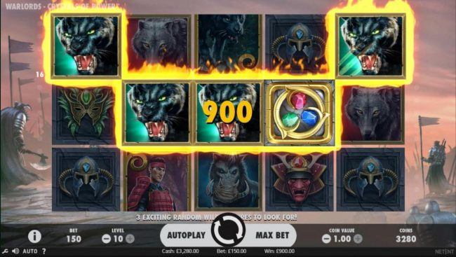 Grand Wild featuring the Video Slots Warlords Crystals of Power with a maximum payout of $1,000,000