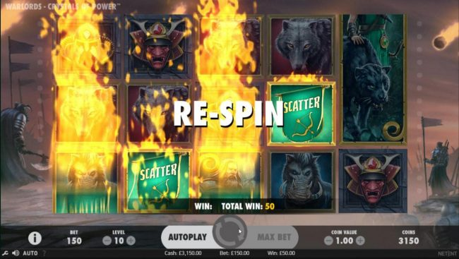 Re-Spins feature triggered.