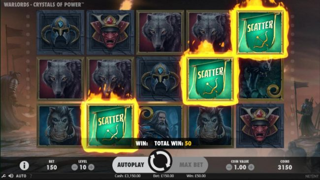 Slots Magic featuring the Video Slots Warlords Crystals of Power with a maximum payout of $1,000,000