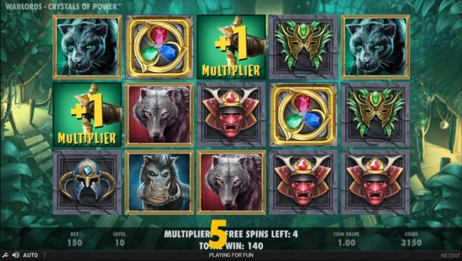 Free Spins featuring the Video Slots Warlords Crystals of Power with a maximum payout of $1,000,000
