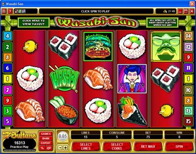 7 Gods Casino featuring the Video Slots Wasabi-San with a maximum payout of $37,500