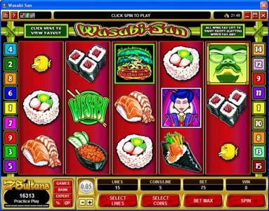 Play slots at Golden Reef: Golden Reef featuring the Video Slots Wasabi-San with a maximum payout of $37,500
