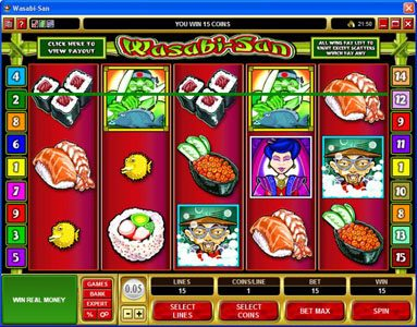 King Neptunes featuring the Video Slots Wasabi-San with a maximum payout of $37,500