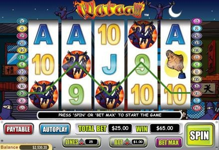 Red Stag featuring the Video Slots Wataa! with a maximum payout of $100,000