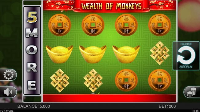 Play slots at 888 Tiger: 888 Tiger featuring the Video Slots Wealth of Monkeys with a maximum payout of $100,000