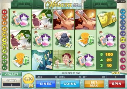 Ruby Fortune featuring the Video Slots Wealth Spa with a maximum payout of $200,000