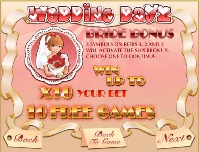 Boaboa featuring the Video Slots Wedding Dayz with a maximum payout of $30,000