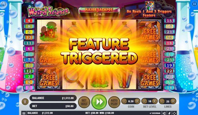 Rich Casino featuring the Video Slots Weird Science with a maximum payout of $2,500,000