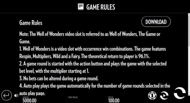 Well of Wonders :: General Game Rules